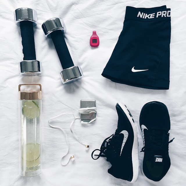 fitness flatlay workout exercise fitnessinspo nike dropbottle fitbit sudio