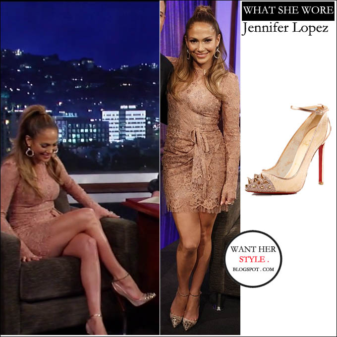 Jennifer Lopez In Lace Nude Dress With Gold Metallic Spiked Heels