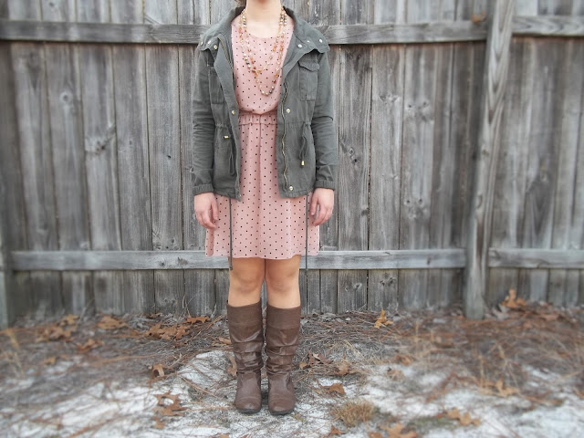 pink blush brown polka dot dress military jacket brown boots neutral necklace outfit dressember dress donate human trafficking