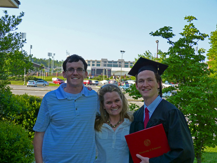 Michael, Stephanie and Ryan, May 2013, Universty of Arkansas Graduation