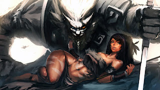 rengar and sexy nidalee art league of legends lol
