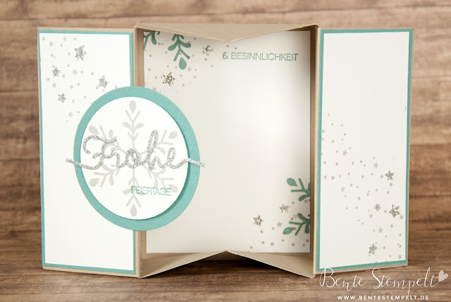 Stampin Up Framelits Weihnachtliche Worte Stempelset Winterliche Weihnachtsgrüße Box Card Lagunenbvlau Savanne Flüsterweiß Schneeflocke Sterne Schnee