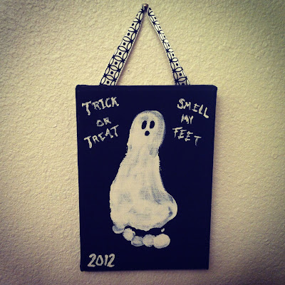 "Halloween craft idea for toddlers and kids: canvas foot print ghost ""Trick or Treat, Smell My Feet""  www.thebrighterwriter.blogspot.com"