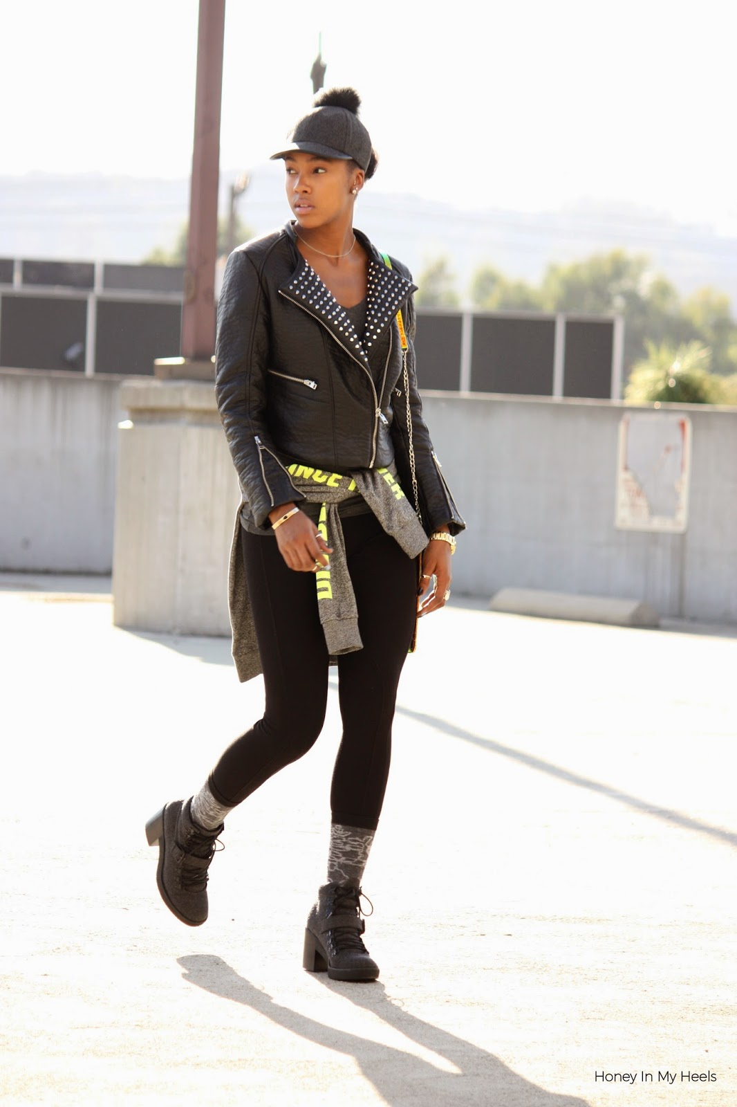 Wearing BCBGeneration cap H&M cropped faux leather jacket Nasty Gal iridescent bag