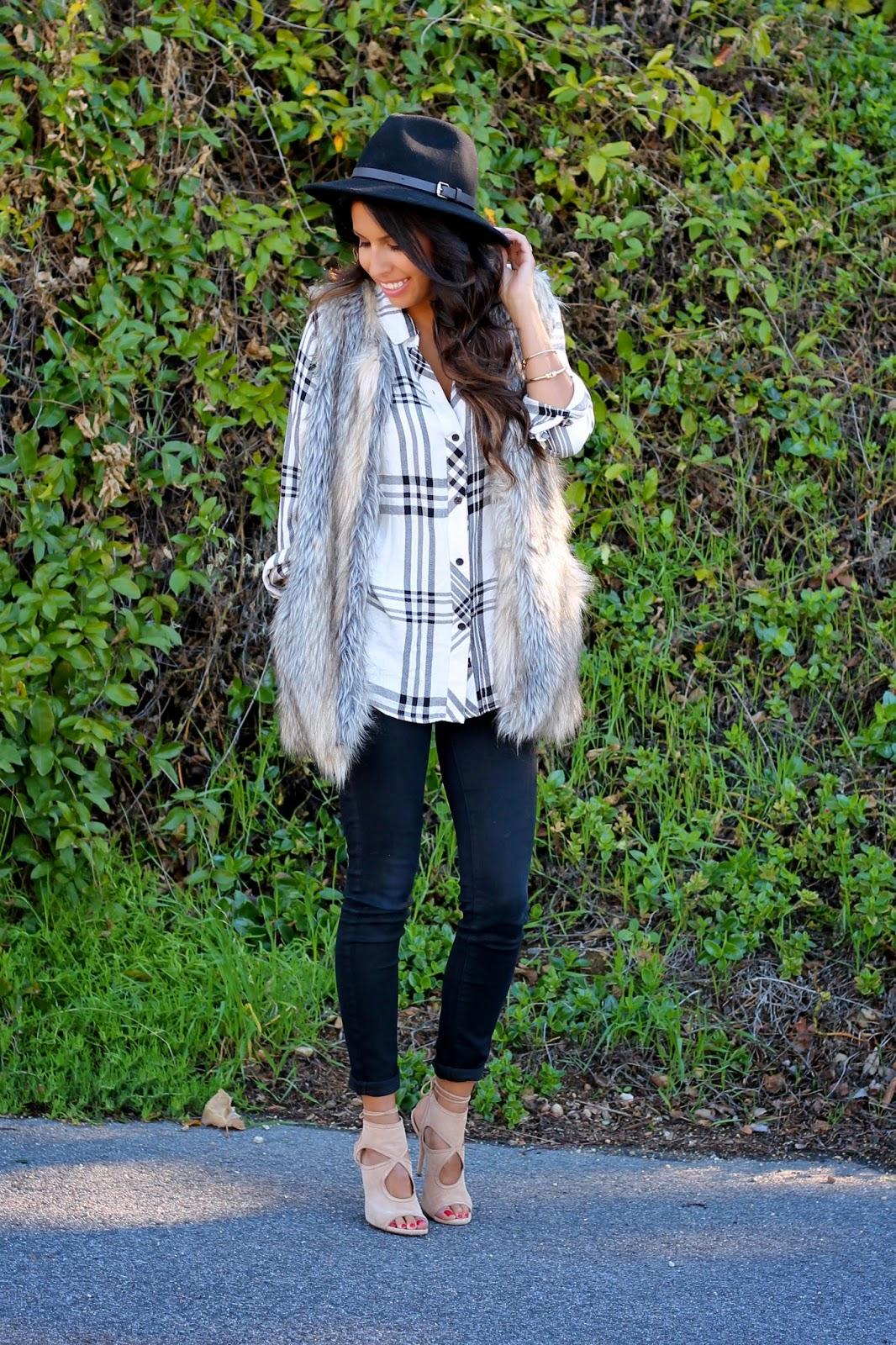 how to style fur vest, target style, fashion, pursuit of shoes, rails shirt