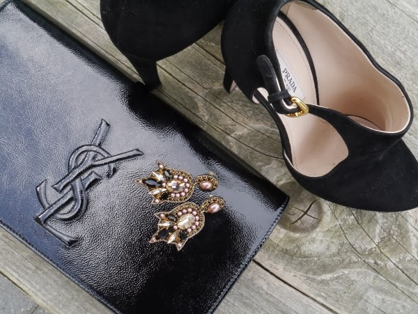 Details: Saint Laurent 'Belle de Jour' clutch in black patent, Prada black suede booties, LOFT beaded statement earrings