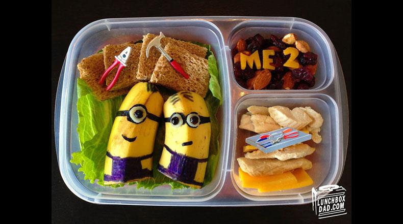 Papá Lonchera hace sándwiches y aperitivos creativos para el almuerzo de escuela de su hija