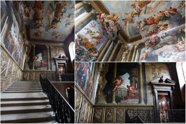 Escaleras y techos decorados con pinturas en el Palacio de Hampton Court, Londres