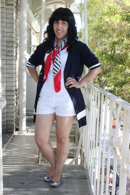 Nautical Print Scarf Outfit Idea