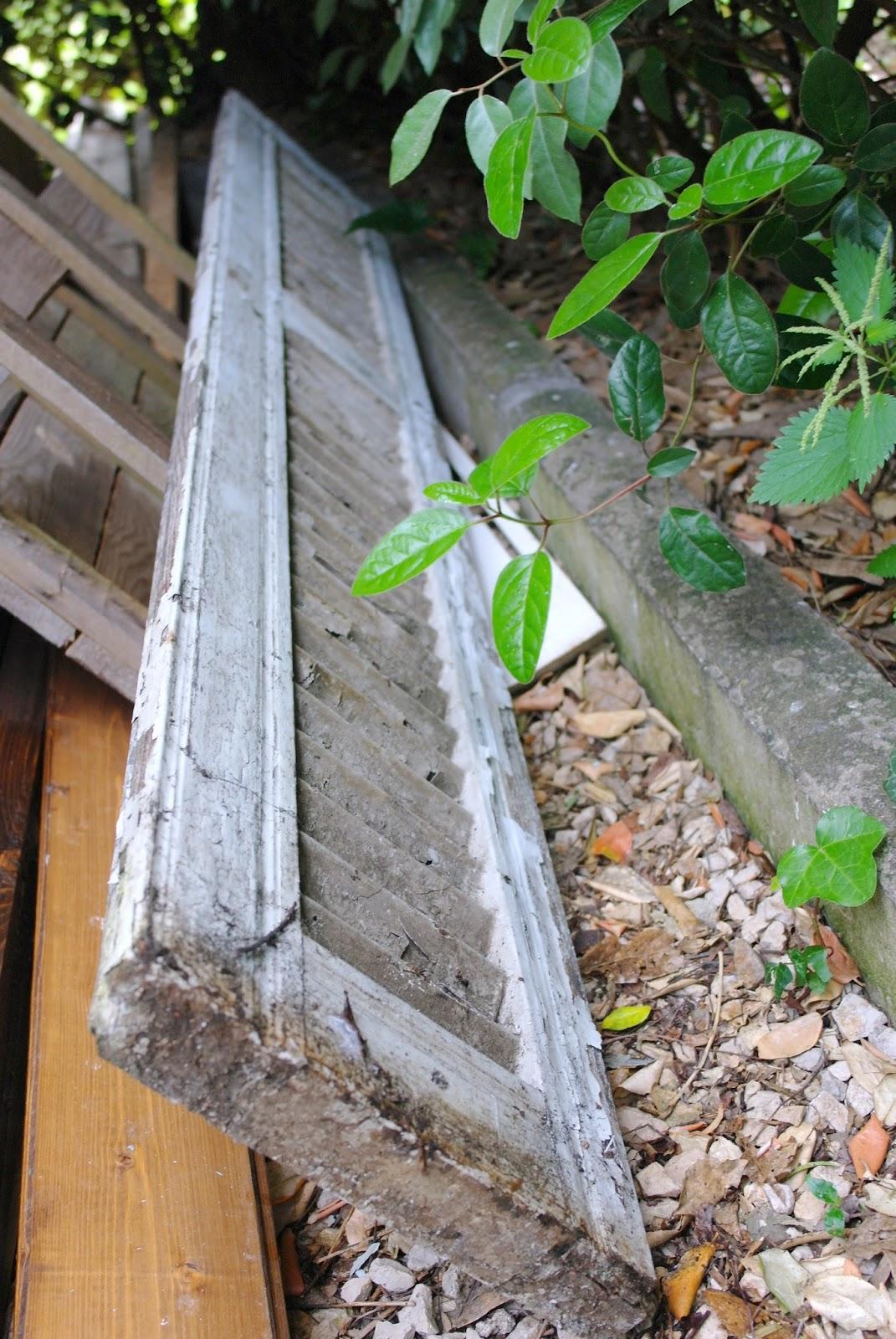 old wood window shutter