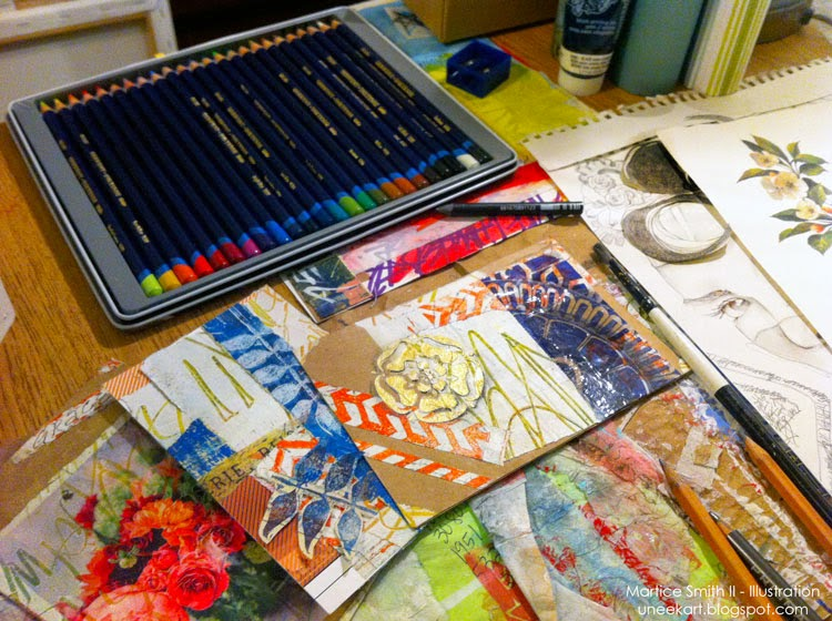 a glimpse of what's on Martice's studio desk