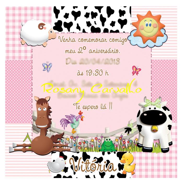 Muito Ry Scrap Arts convites: Convite Fazendinha Patchwork menina chic AW75