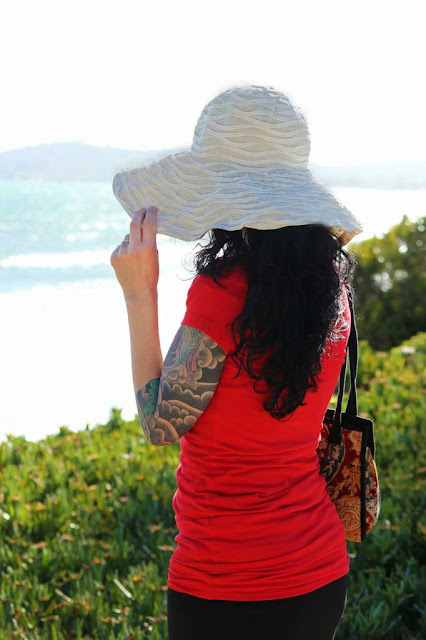 big sun hat and red along the california coast - wish list/ catherine masi