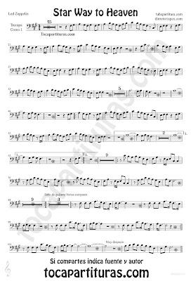 Tubepartitura Stairway to Heaven Led Zeppelin partitura para Trompa Autopista hacia el Cielo canción de Rock - Heavy