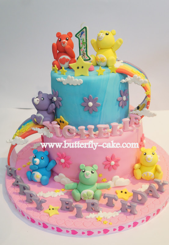 Butterfly Cake Yichelles 1st Birthday Cake Care Bear Theme