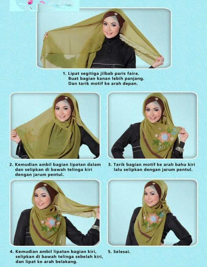 Cara Memakai Hijab Bermotif Bunga