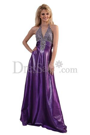 ... flattering this long formal purple promâ dress is featured by
