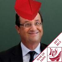 Hollande in a biretta