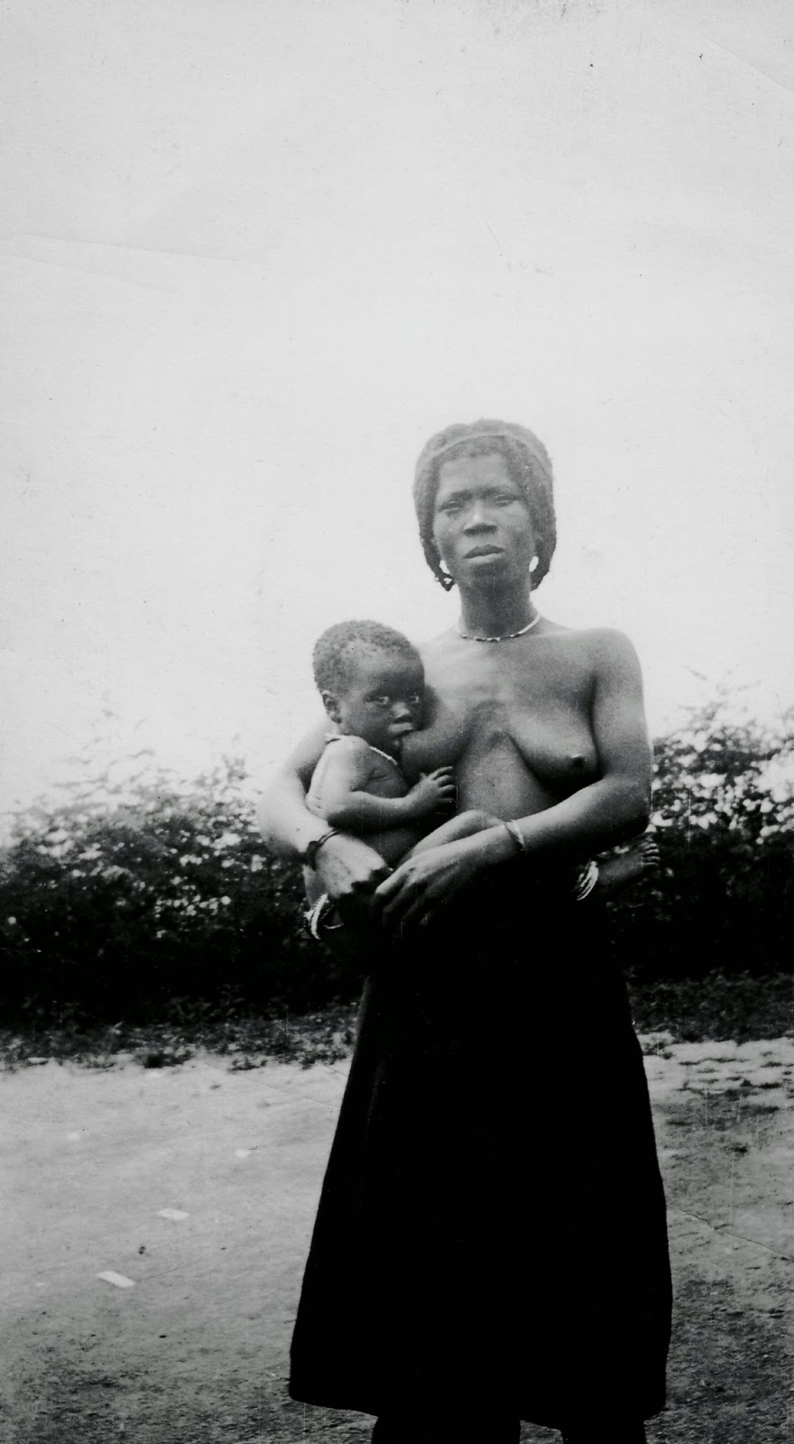topless African native woman