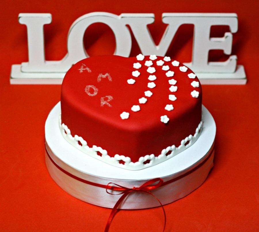 tarta corazón rojo