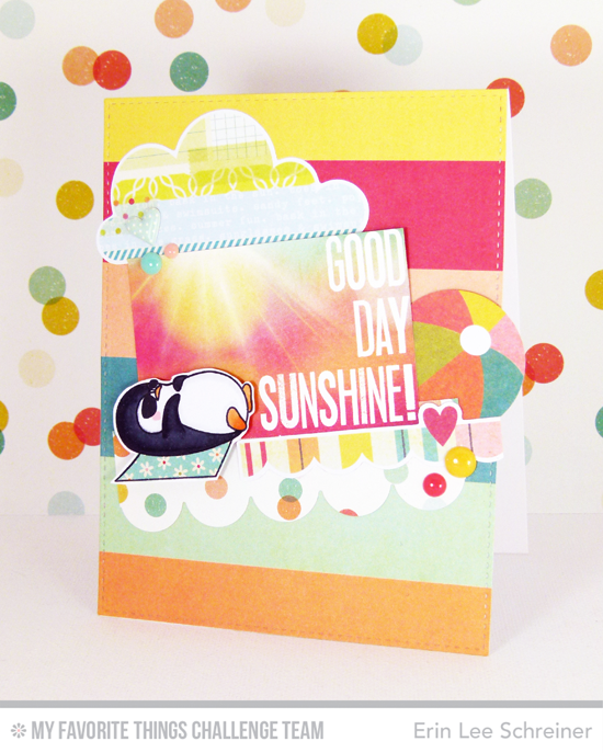 Good Day Sunshine Card by Erin Lee Schreiner featuring the Birdie Brown Penquins in Paradise stamp set and Die-namics