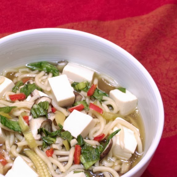 Comfort food doesn't have to be unhealthy.  This Asian noodle soup with ginger and garlic will warm you from top to toe