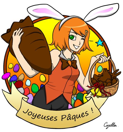 Charlotte Râpée tenant une carotte en chocolat pour Pâques
