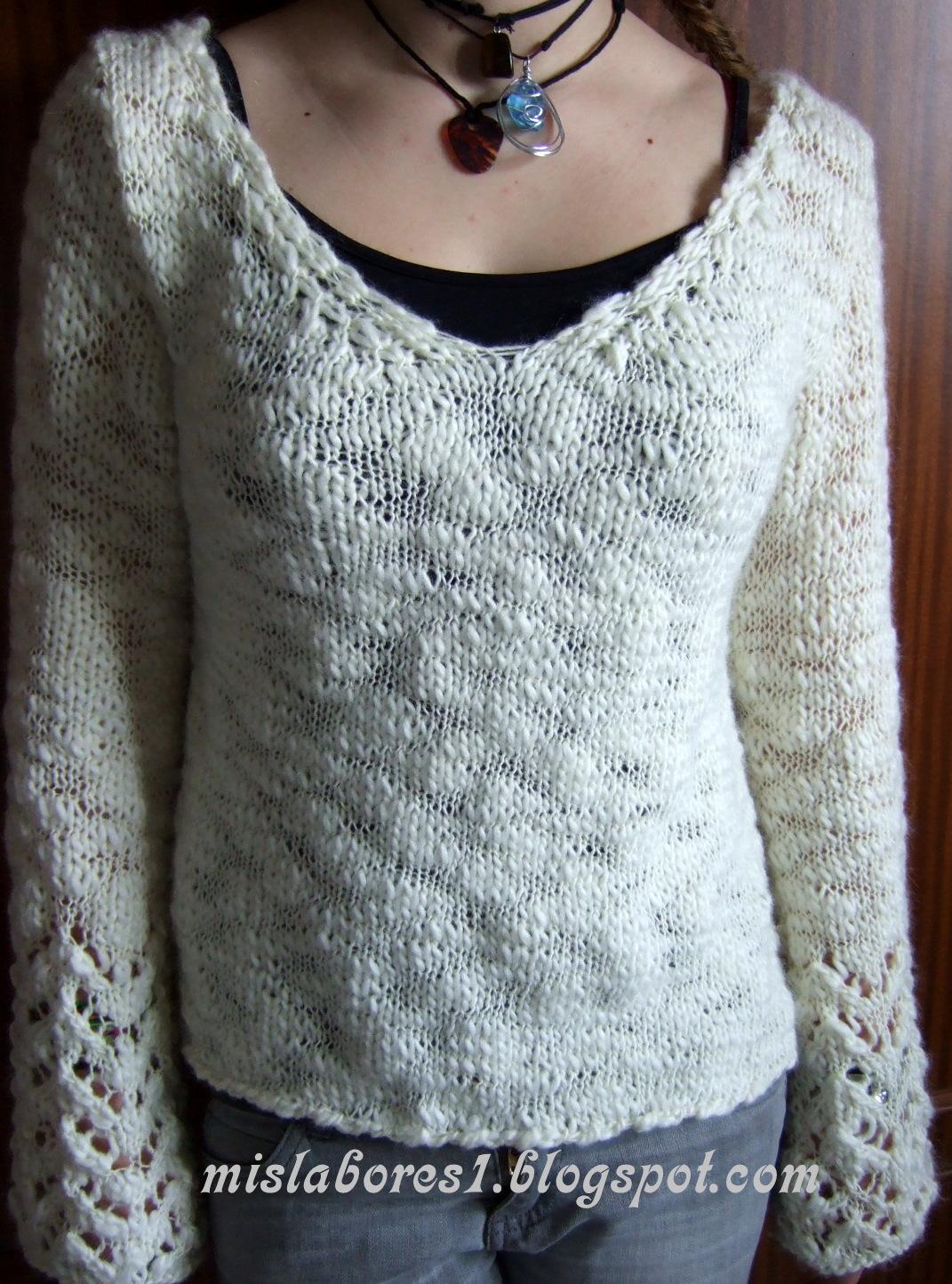 Mis labores jersey con escote en pico - Labores de punto de lana ...