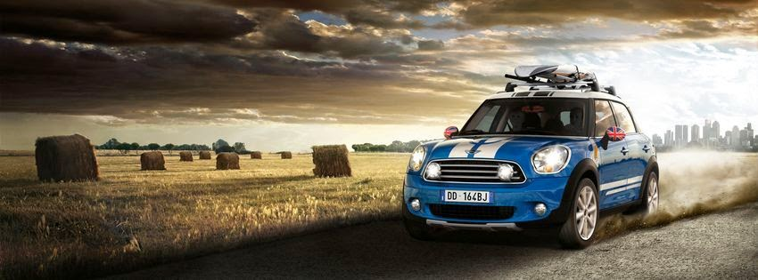 Image de couverture facebook mini cooper bleu