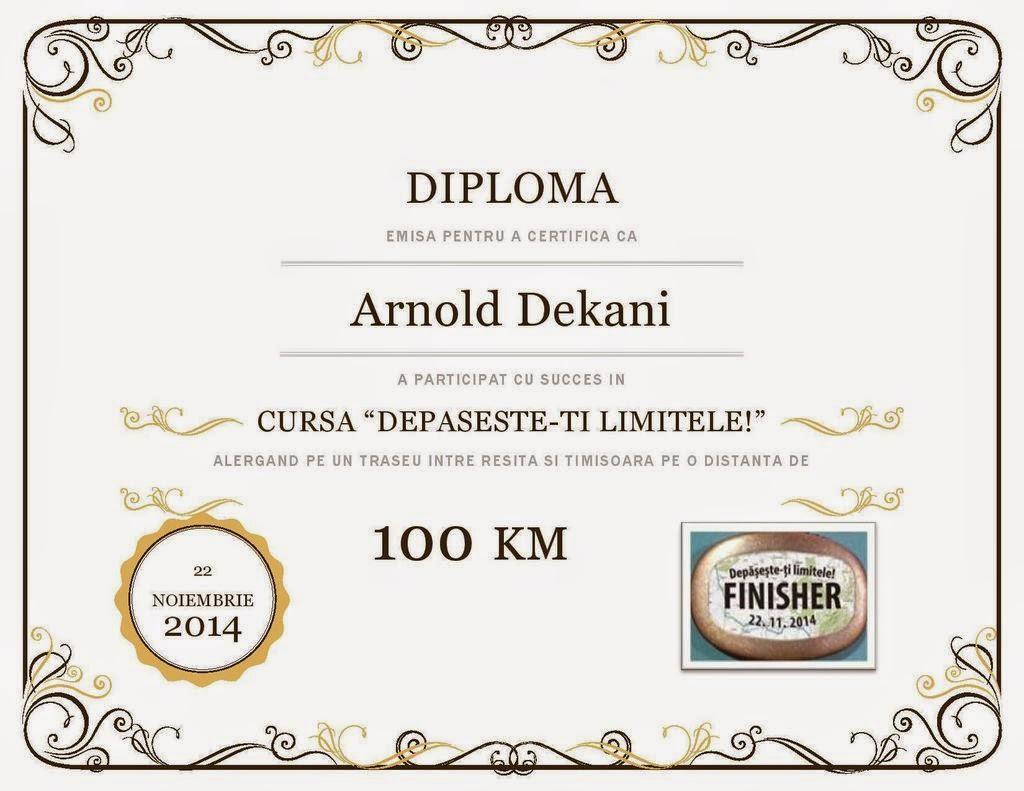 Arnold Dekani, după alergarea celor 100 km pe traseul Reşiţa - Timişoara. Diploma
