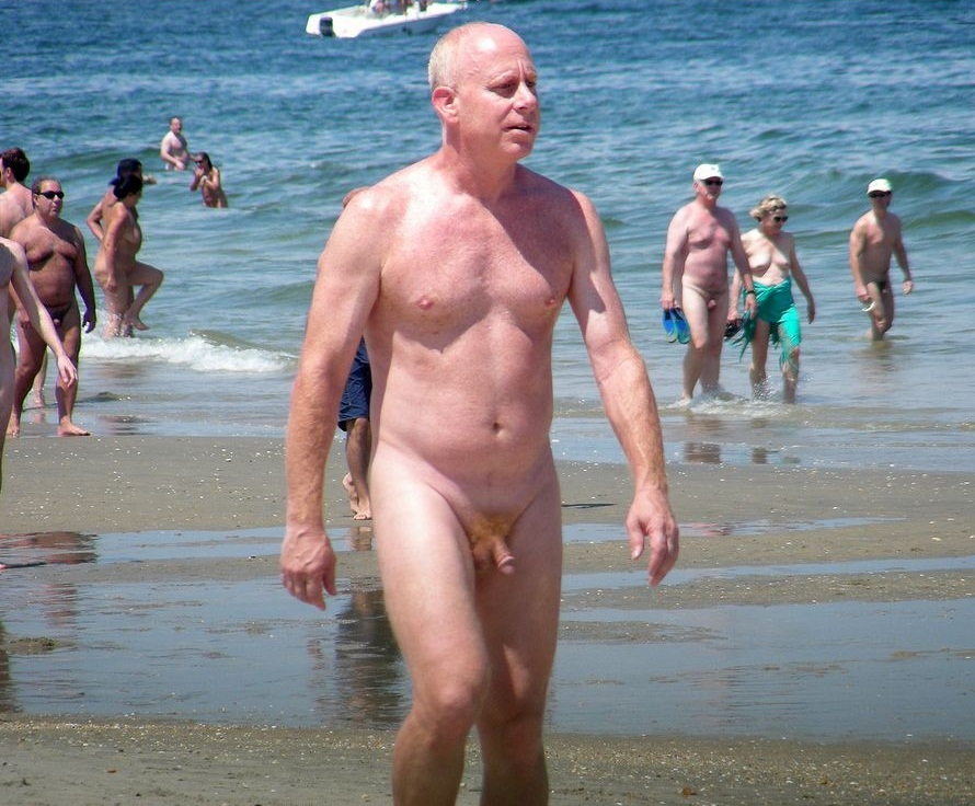 beach at Old naked man