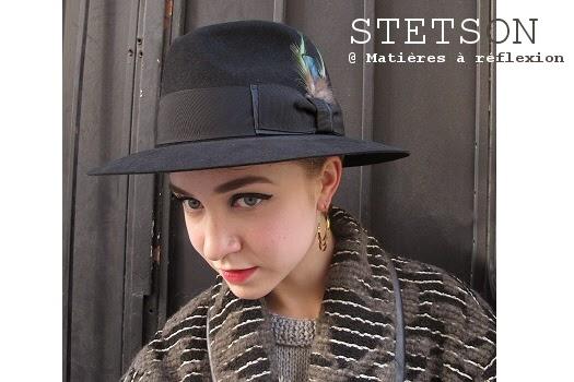 Chapeau femme Stetson large bord noir