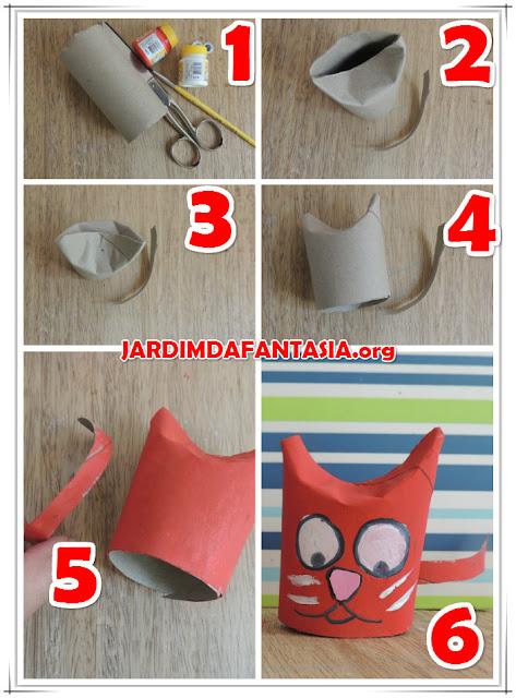 Gato de rolo de papel higiênico Artesanato para Crianças