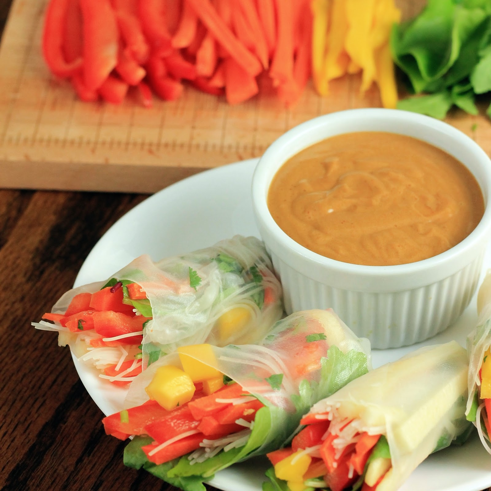 ... Happy: Vegetable Spring Rolls with Spicy Peanut Dipping Sauce