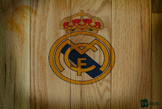 Real Madrid CF Logo on Wood Texture Design HD Wallpaper