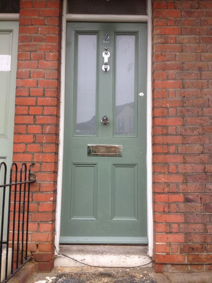 the door in farrow and ball s green smoke and added chrome door. Black Bedroom Furniture Sets. Home Design Ideas