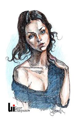 Portrait d'une jeune fille par Igor Lukyanov (hachures croisées)