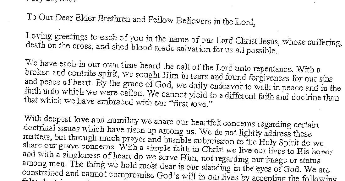 Apostolic Church Elder Letter: This We Continue To Believe ... on