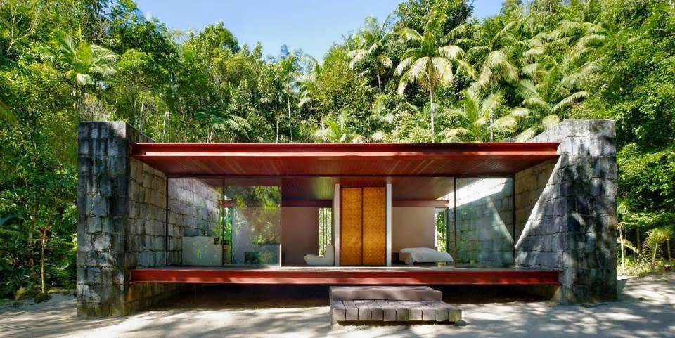 Half Glass Half Rocks And Wood Minimalist House Of Cabin