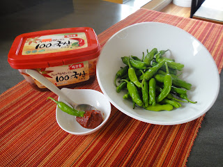 Snacking on Shishito Peppers