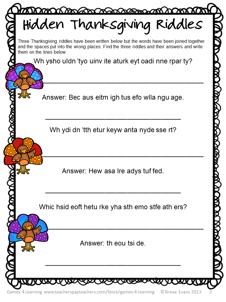 math worksheet : fun games 4 learning thanksgiving freebies : Thanksgiving Math Puzzles Worksheets