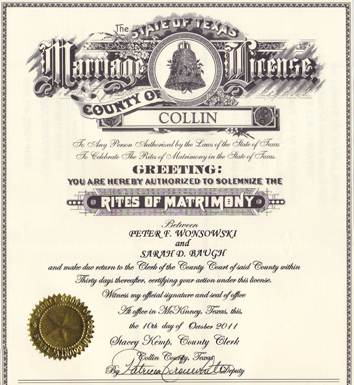Certified Copy Of Marriage Certificate Collin County Texas ...