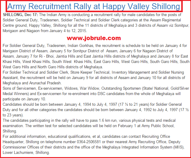 Direct Army Soldier Recruitment Rally at Assam Regimental Centre Ground, Happy Valley, Shillong (4th-12th January, 2015) for Assam, Meghalaya & Arunachal Pradesh (NE States)