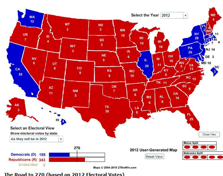 projected 2012 electoral college map A state that was once thought to be safely in the trump column is now in play in the politicus presidential projection map for november 6, 2016.
