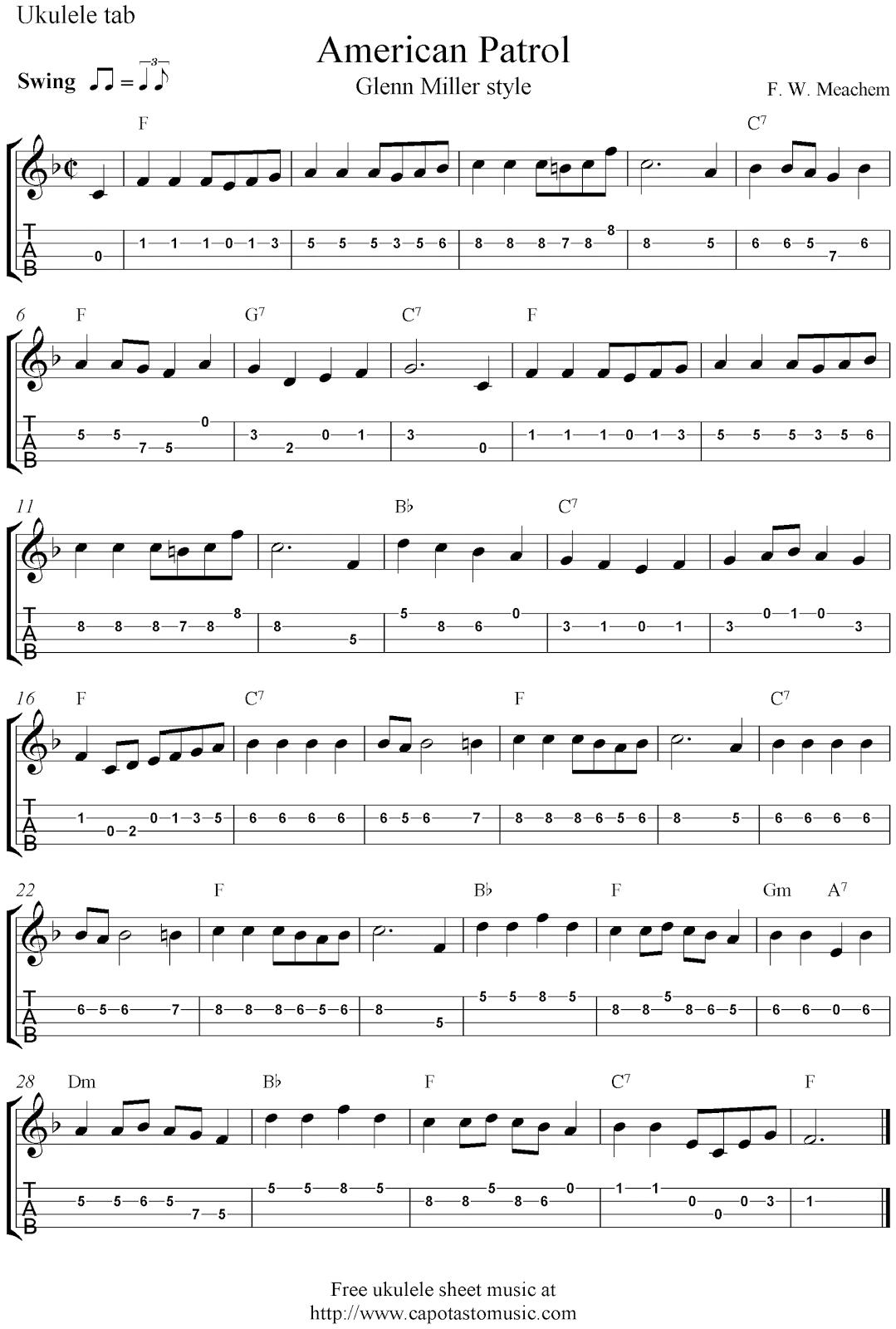Free ukulele tab sheet music, American Patrol