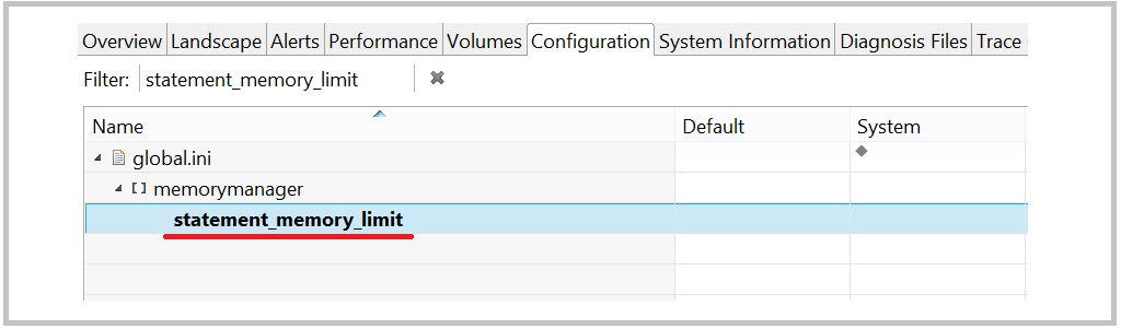 SAP HANA statement_memory_limit