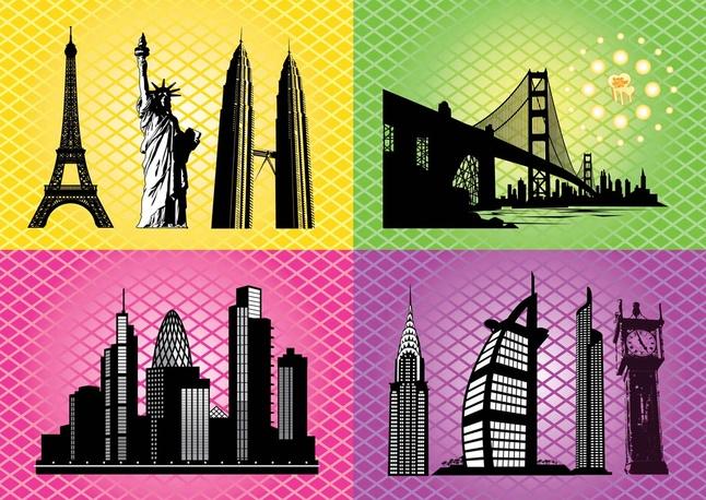 65 free skyscrapers towers vector art graphics for Landmark design