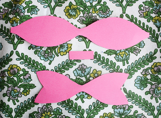 shapes for cute paper bow how to, pink paper on floral fabric
