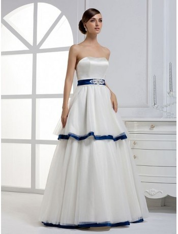 Taffeta Strapless Mermaid Wedding Dress With Blue Bow Sash Lace Liqued Bodice Up Closure Back On Extend Into Chapel Train
