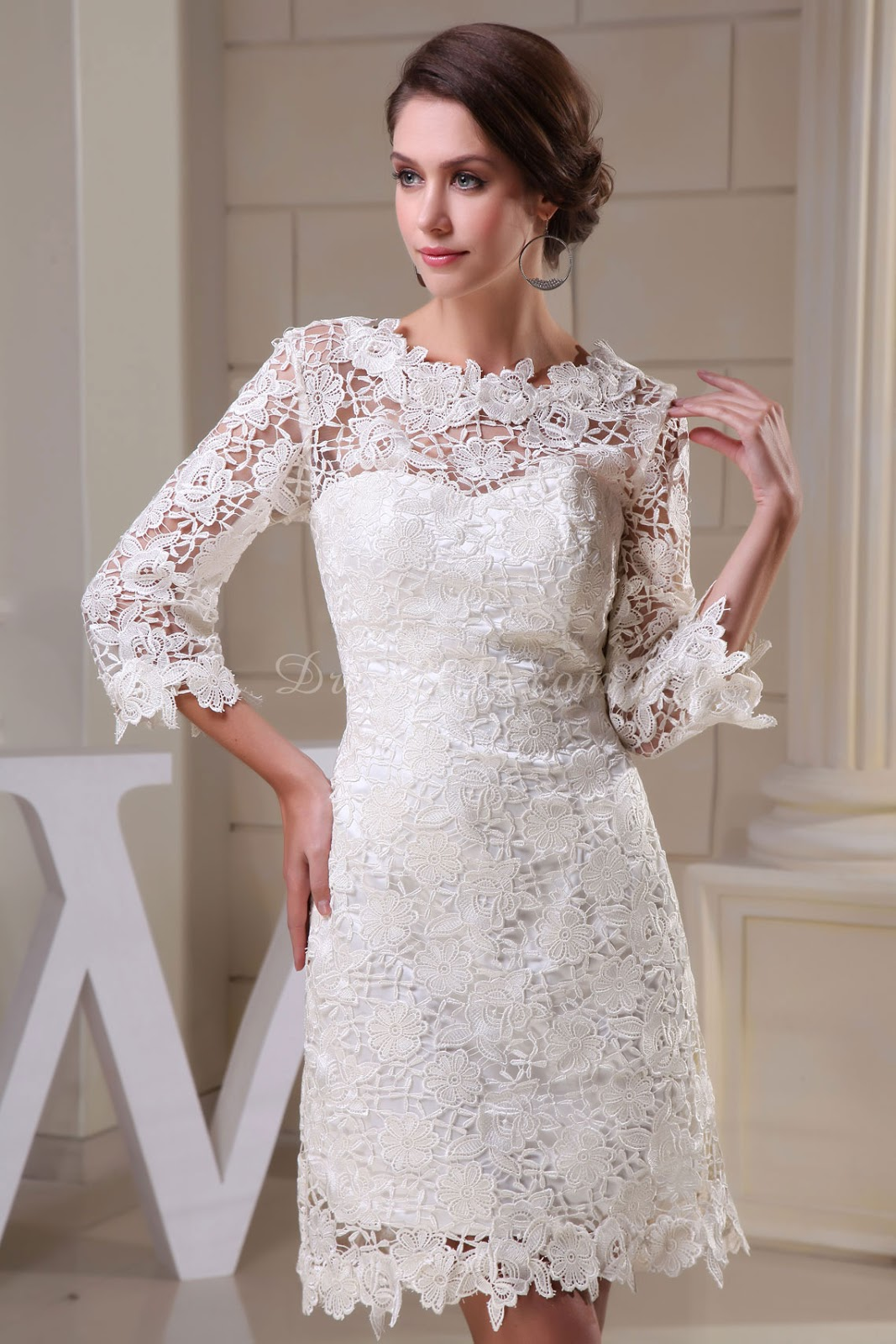 Knee length wedding dresses with sleeves uk wedding dresses for Knee length wedding dresses with sleeves
